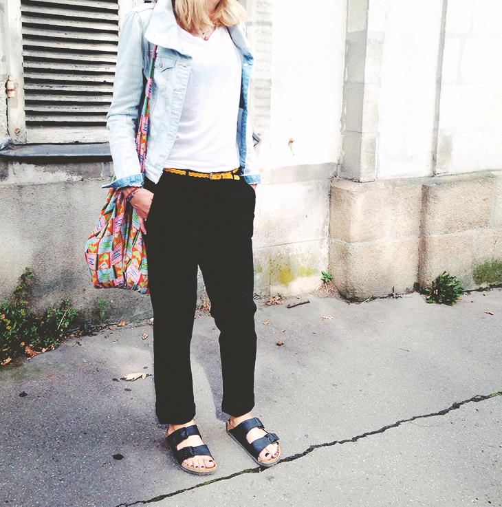Instalook_look_blog_mode_veste_jean_bonobo_pantalon_noir_manoukian_birkenstock_arizona