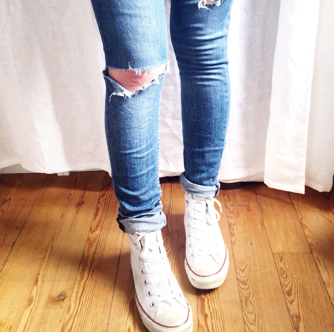converse blanche jeans